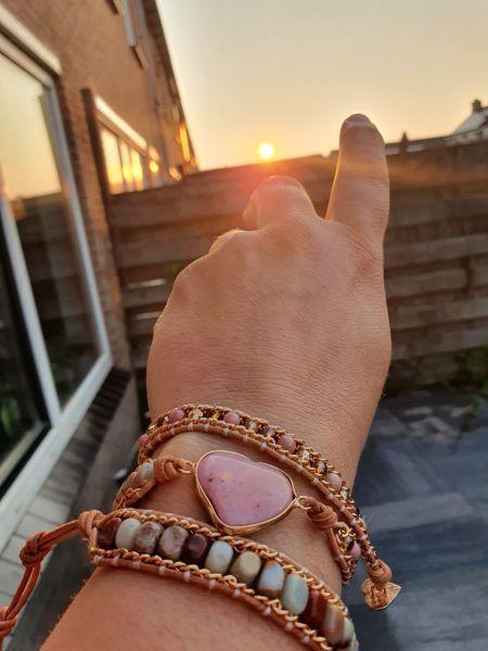 Hart roze wikkelarmband